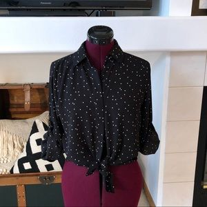 Mission Black and white polka dot blouse - xs